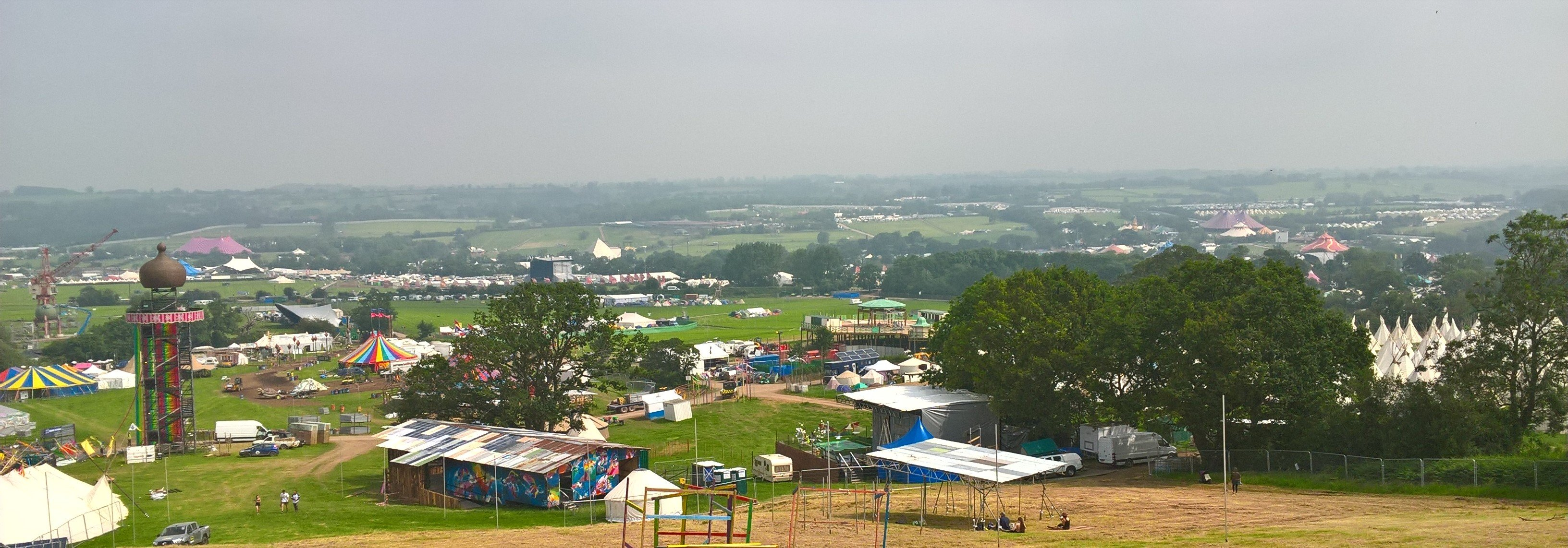 panoramic view of glastonbury festival site